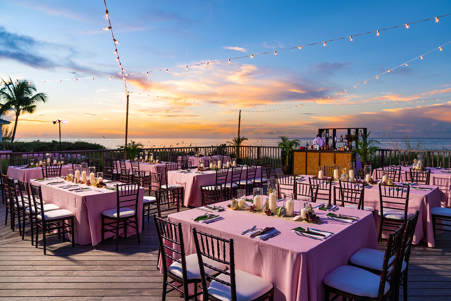 outdoor destination wedding reception under the stars Atlantis Paradise Island in the bahamas