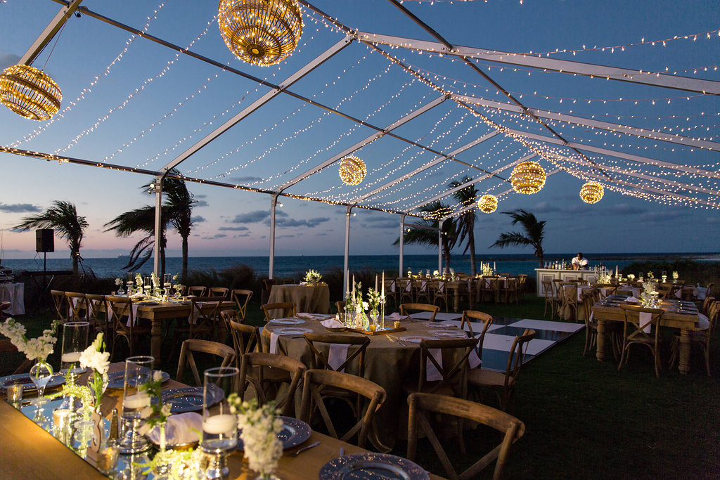destination wedding reception outdoors Atlantis Paradise Island destination wedding in the bahamas