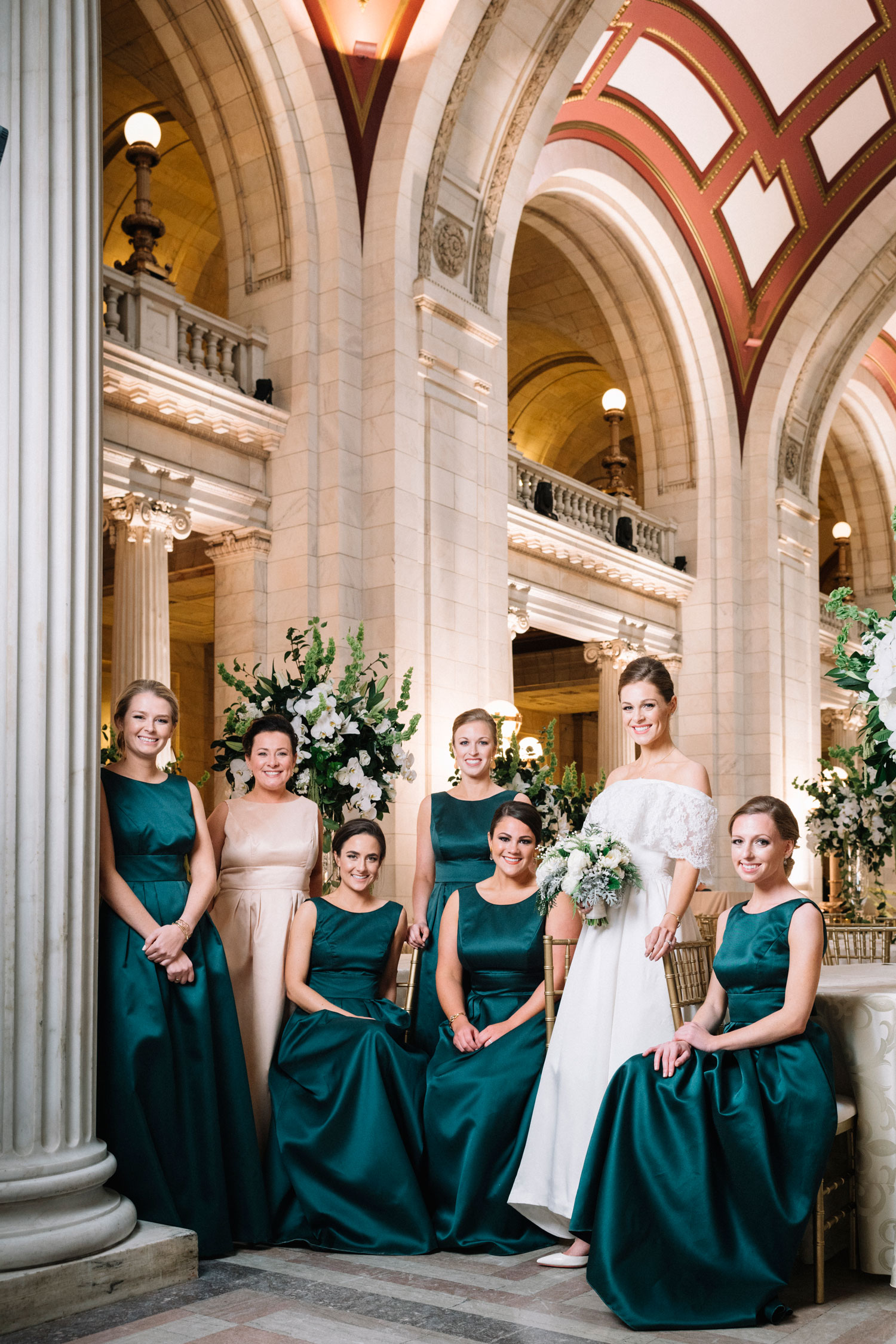 bridesmaids with bride in her mother's wedding dress bridesmaid proposal ideas