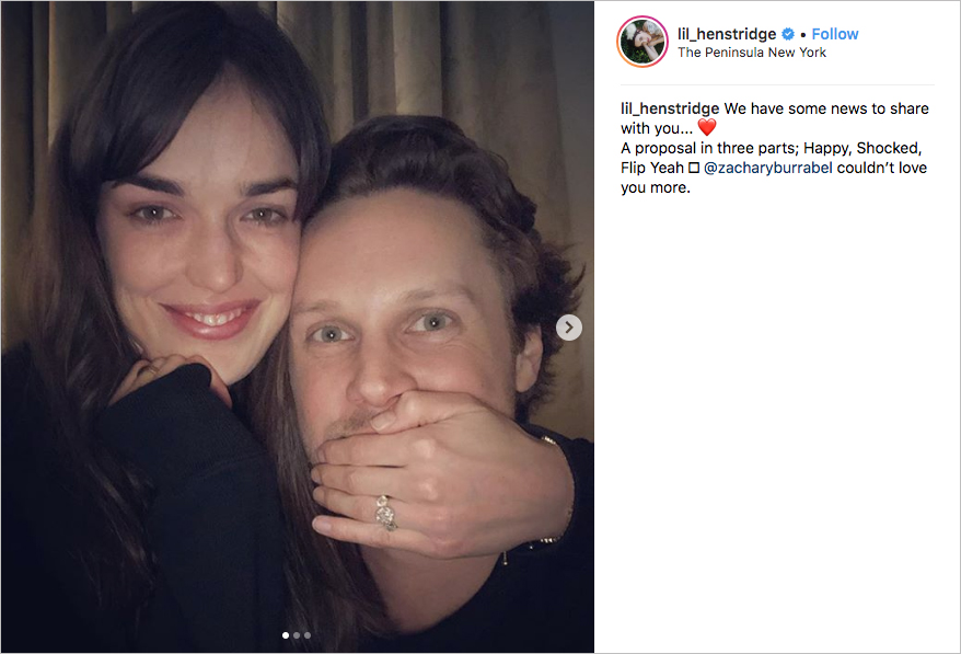 Elizabeth Henstridge & Zachary Burr Abel Engaged engaged, marvel agents of s.h.i.e.l.d. endgame premiere, three-stone engagement ring