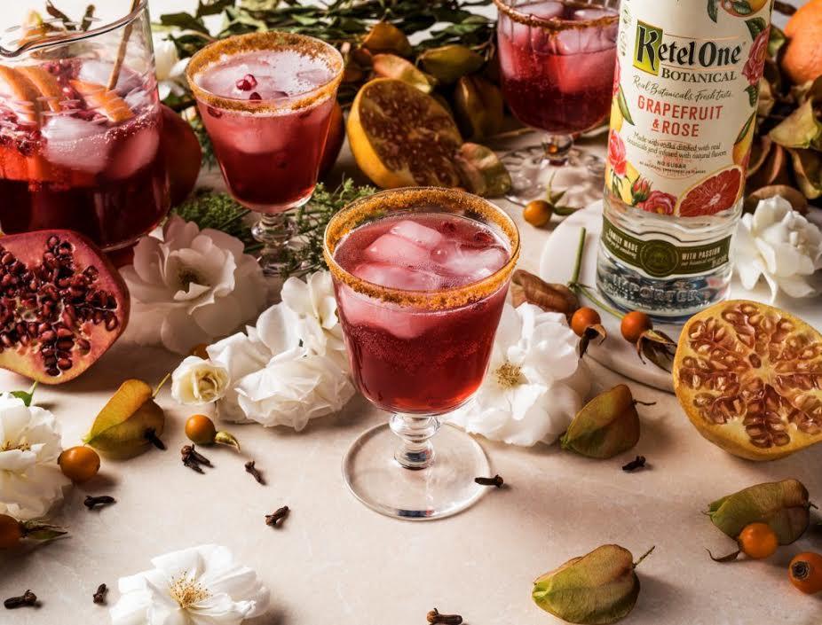 Ketel One Botanical signature cocktail recipe crimson and clover grapefruit pomegranate