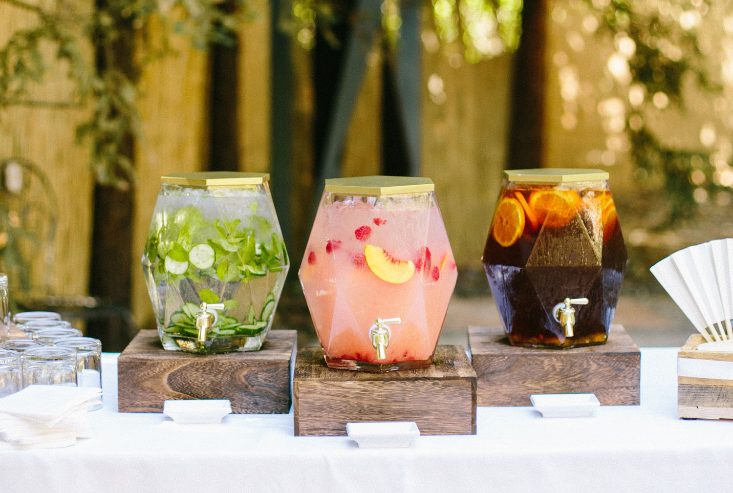infused water, juice, iced tea for before the wedding ceremony