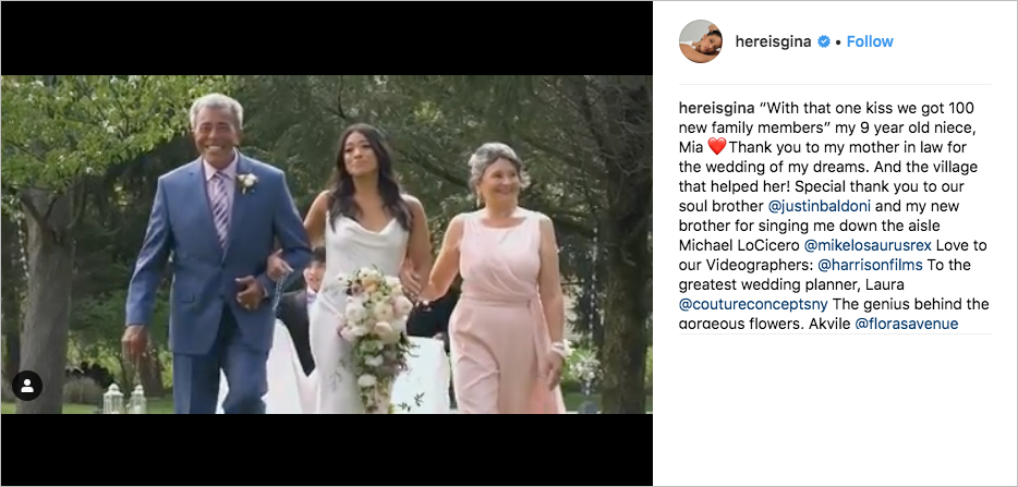 Gina Rodriguez and Joe LoCicero wedding, Justin Baldoni sings and officiates, Gina Rodriguez wedding dress, gina rodriguez parents