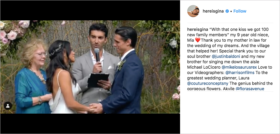 Gina Rodriguez and Joe LoCicero wedding, Justin Baldoni sings and officiates, Gina Rodriguez wedding dress