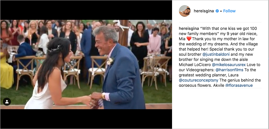 Gina Rodriguez and Joe LoCicero wedding, Justin Baldoni sings and officiates, Gina Rodriguez wedding dress, gina rodriguez with father