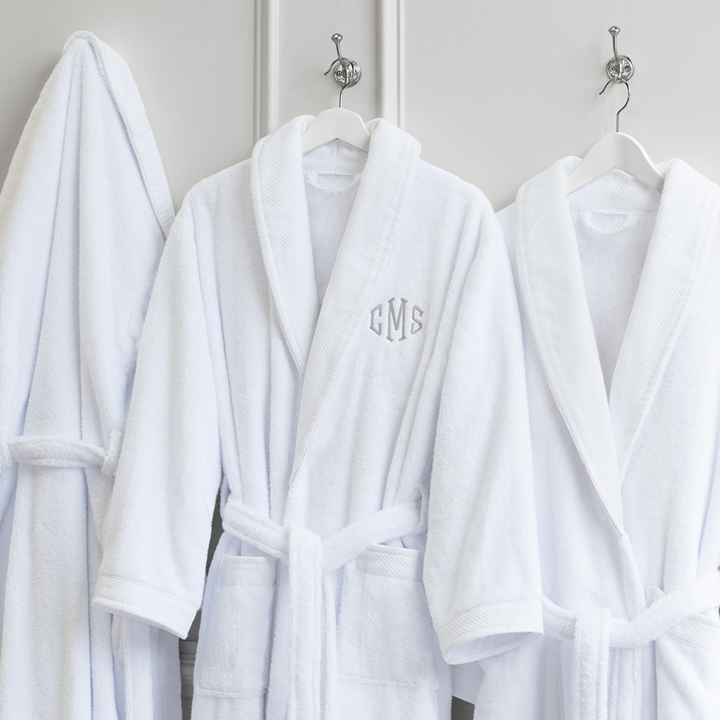Crane and Canopy monogrammed plush bathrobe with monogram three colors available mother's day gift ideas