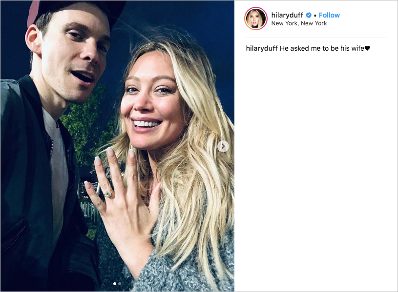 hilary duff and matthew koma engaged, hilary duff's engagement ring