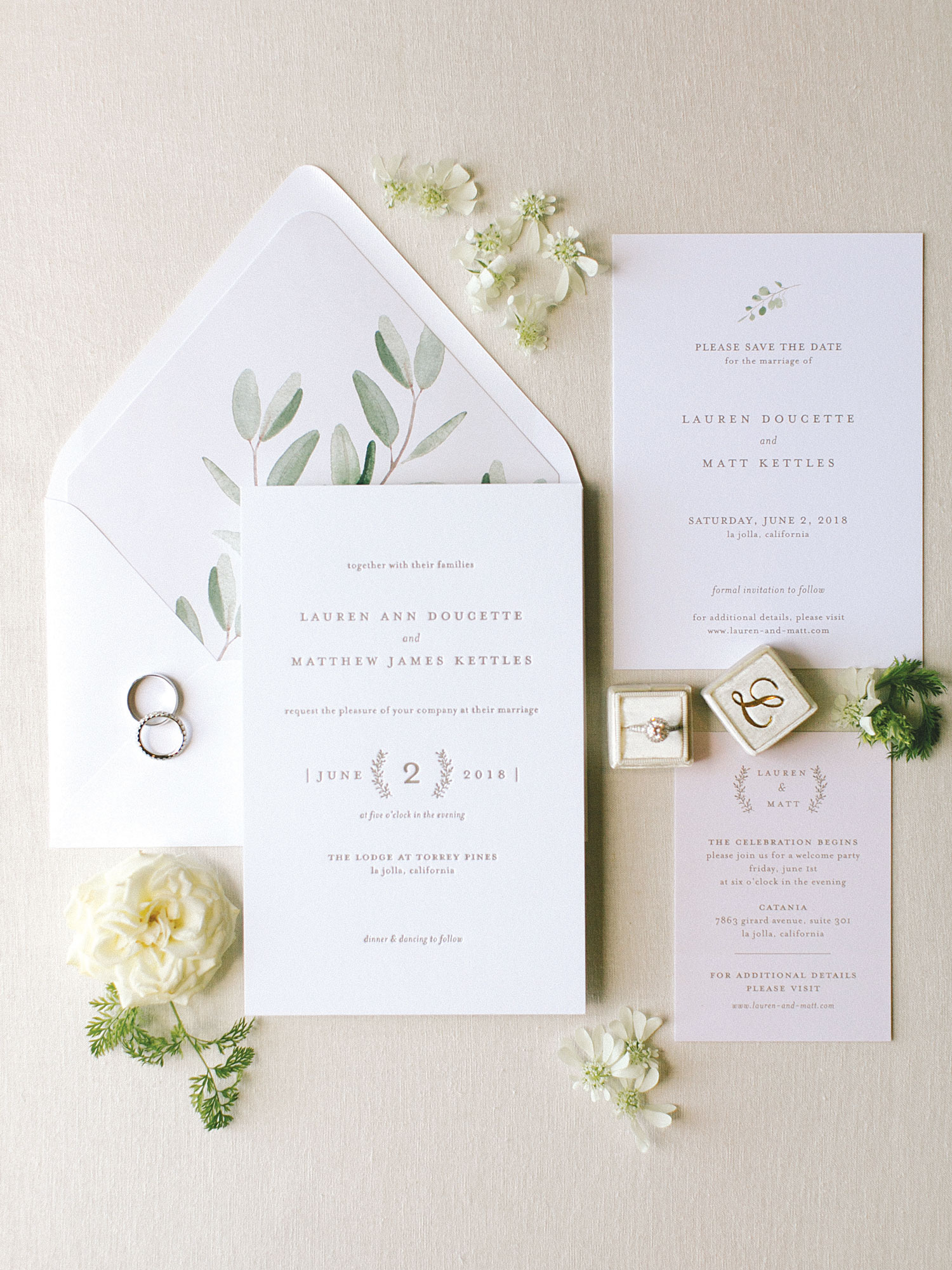 Inside Weddings magazine summer 2019 issue preview simple white and green wedding invitation suite