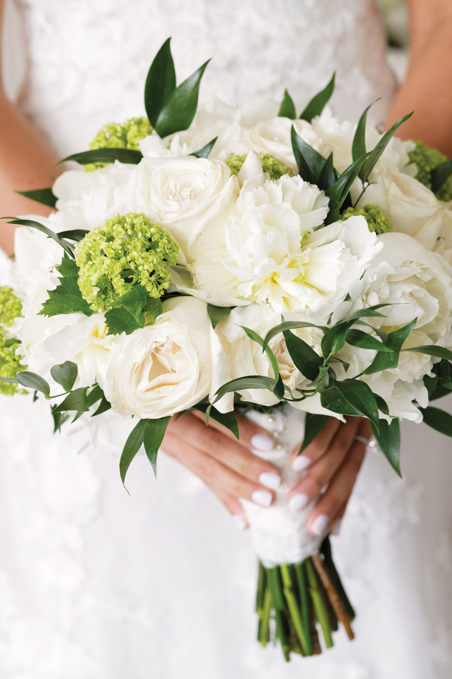 Inside Weddings magazine summer 2019 issue preview white rose greenery bouquet traditional style
