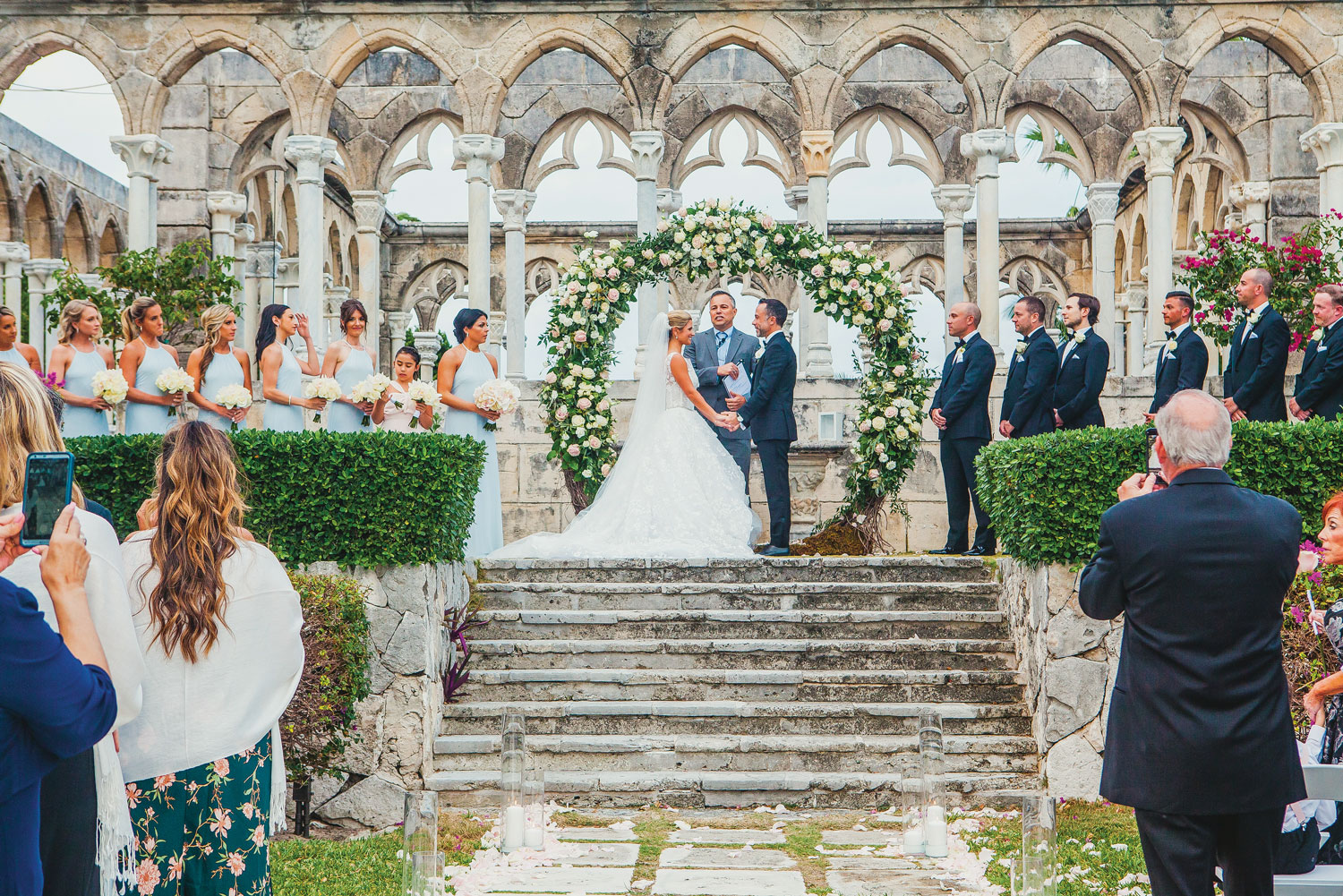 Inside Weddings magazine summer 2019 issue preview wedding ceremony at the cloisters four seasons ocean club bahamas destination wedding