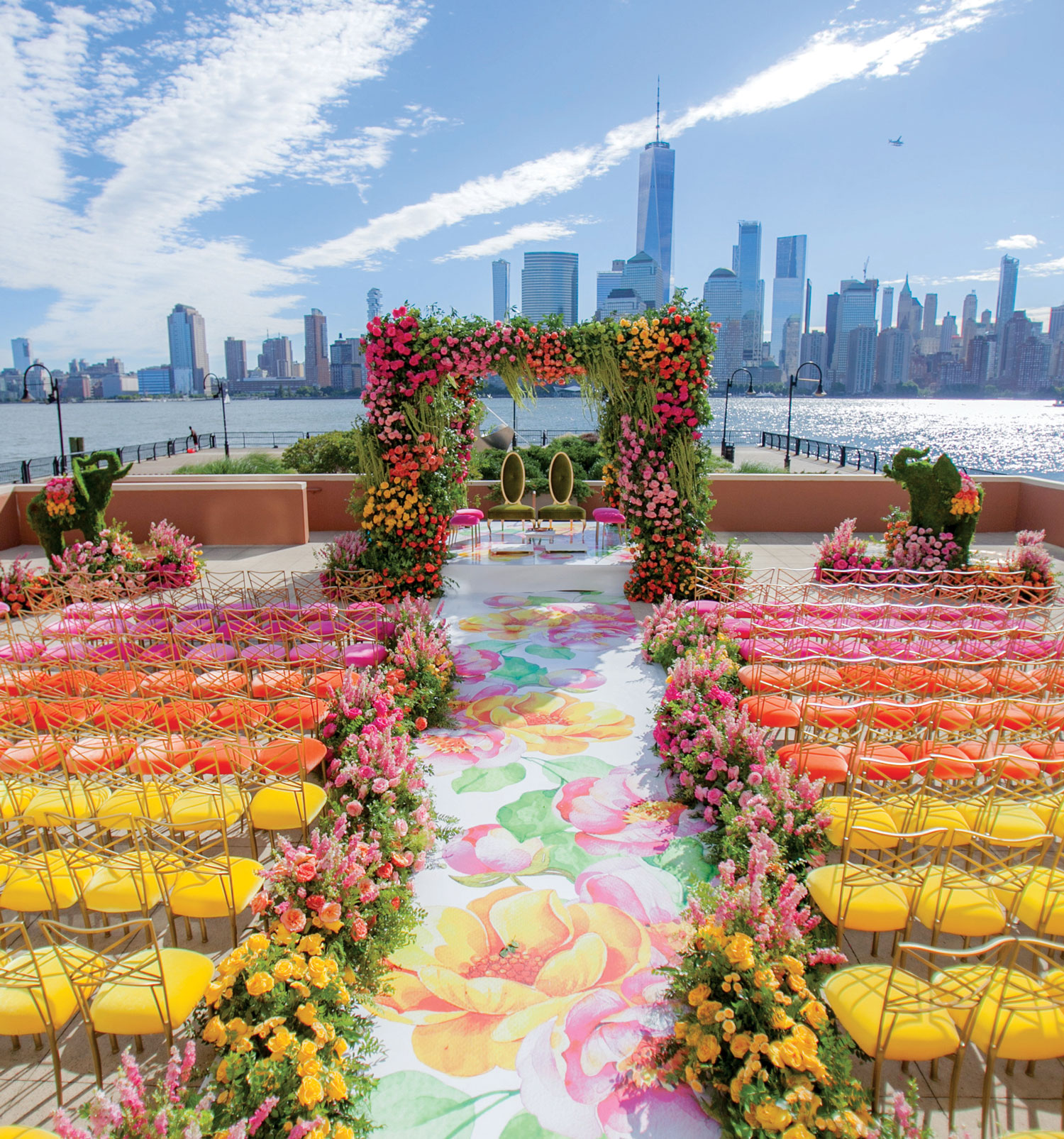 Inside Weddings magazine summer 2019 issue preview colorful new york wedding ceremony skyline chameleon chair collection