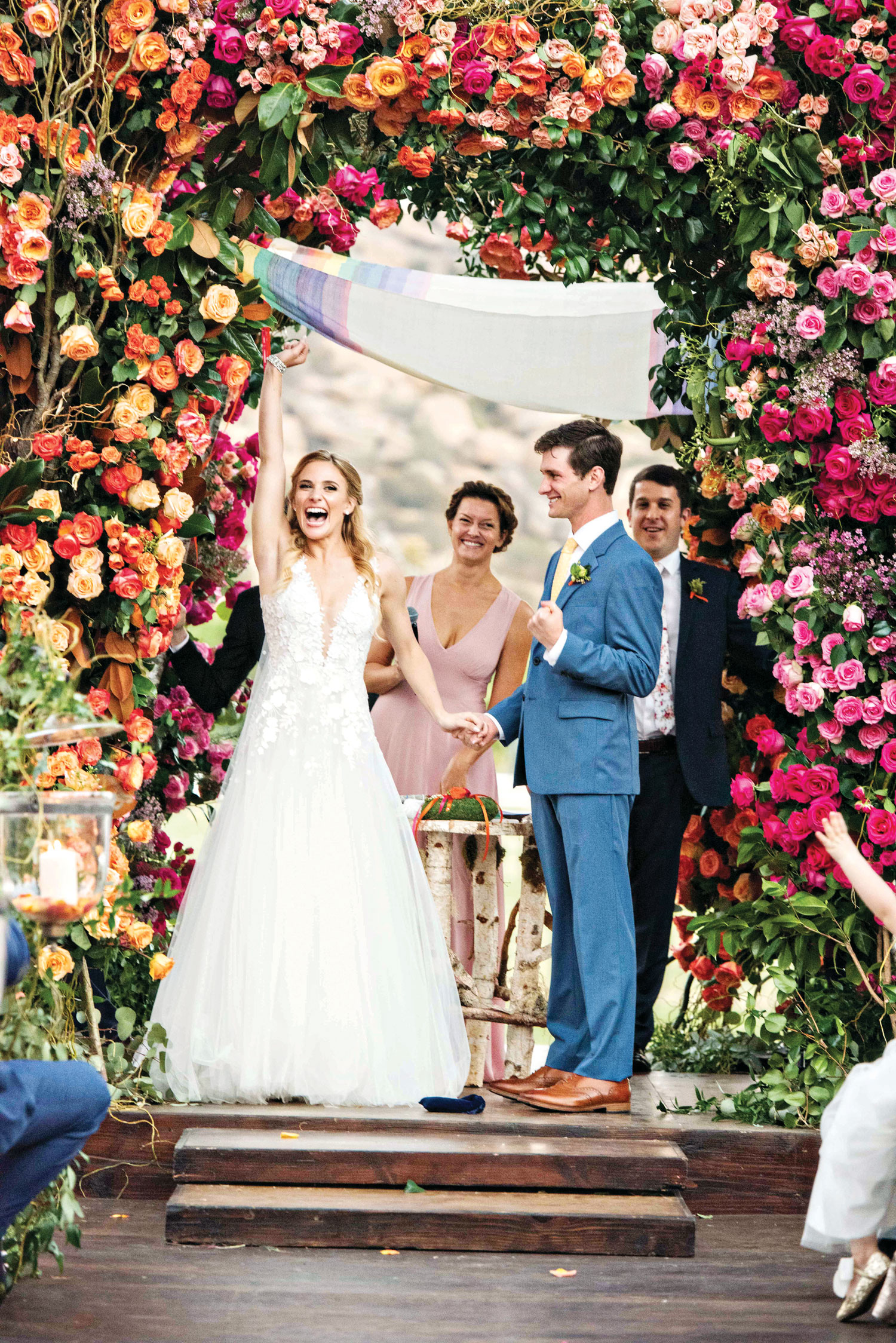 Inside Weddings magazine summer 2019 issue preview colorful wedding ceremony chuppah flowers greenery