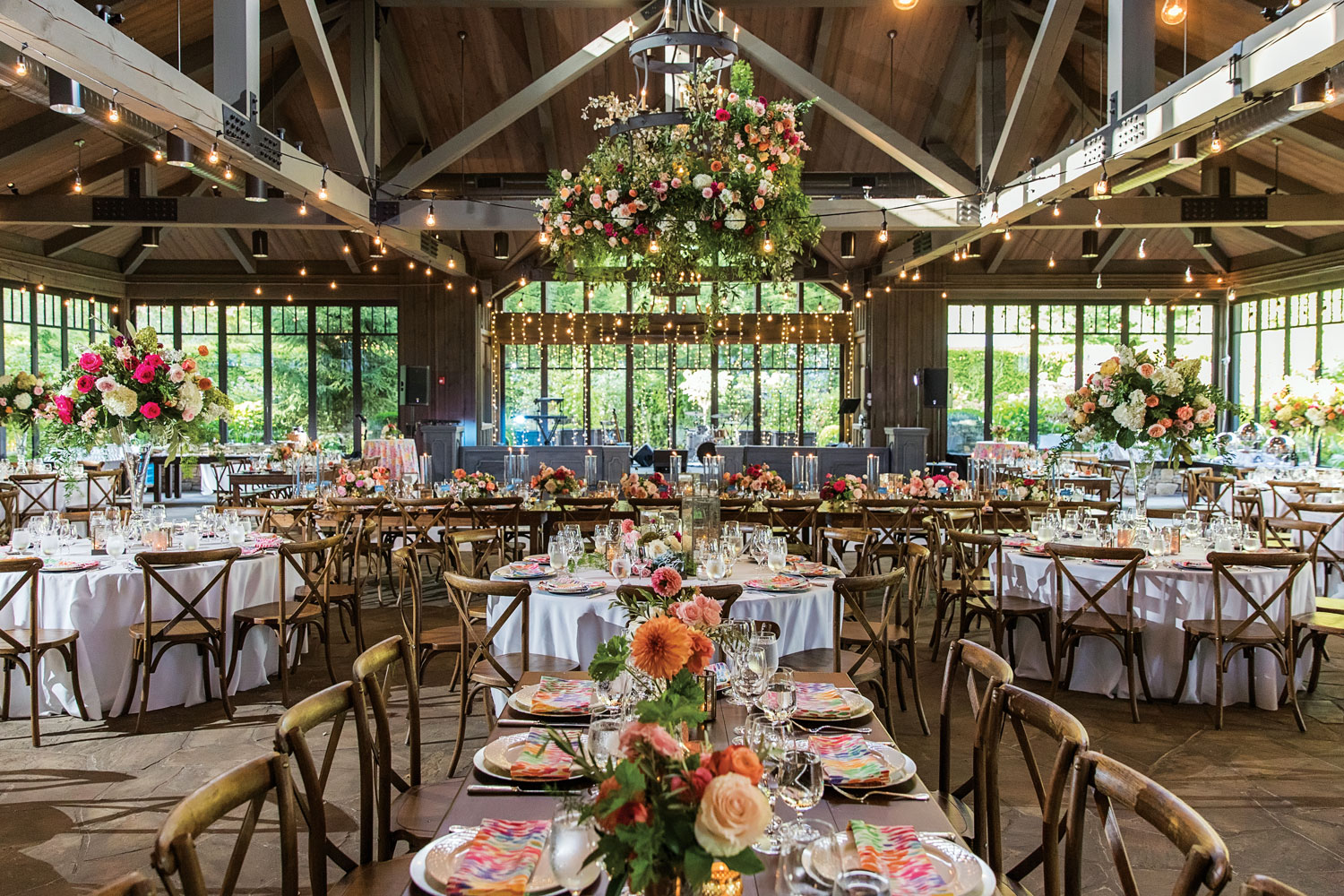 Inside Weddings magazine summer 2019 issue preview colorful flowers rustic chic barn wedding reception
