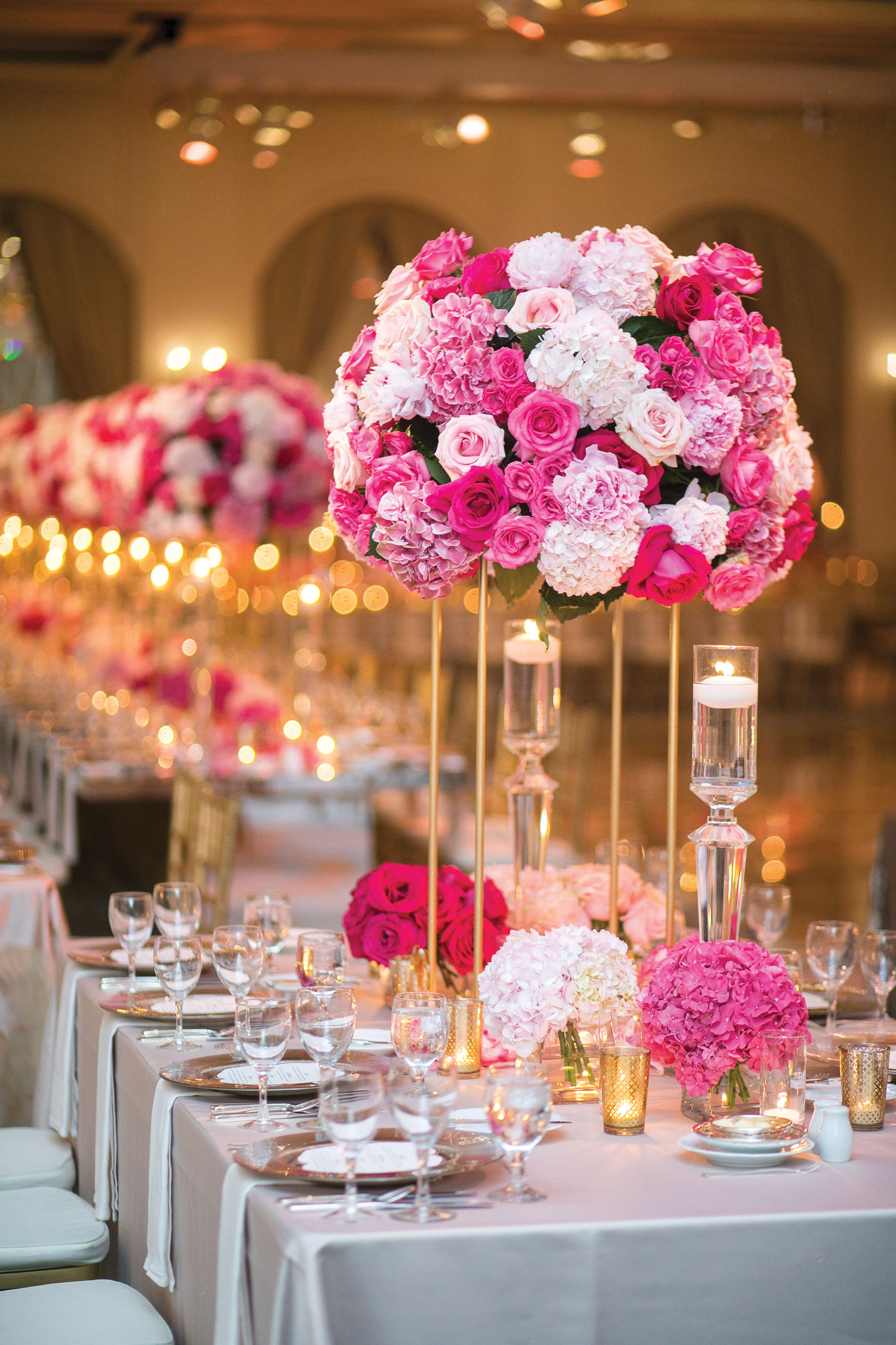 Inside Weddings magazine summer 2019 issue preview pink white and gold wedding reception