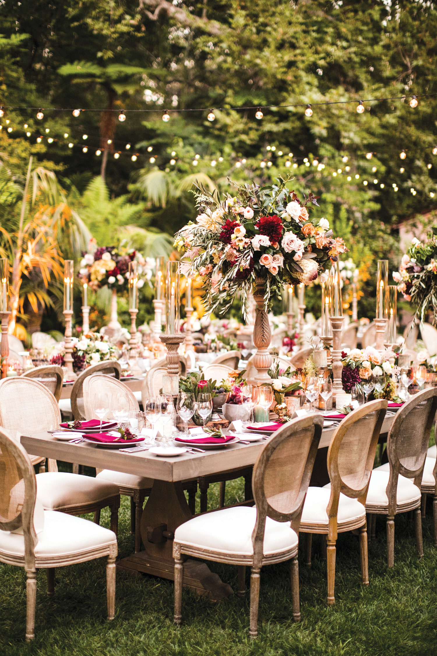 Inside Weddings magazine summer 2019 issue preview outdoor wedding reception fall autumn color palette wood tables