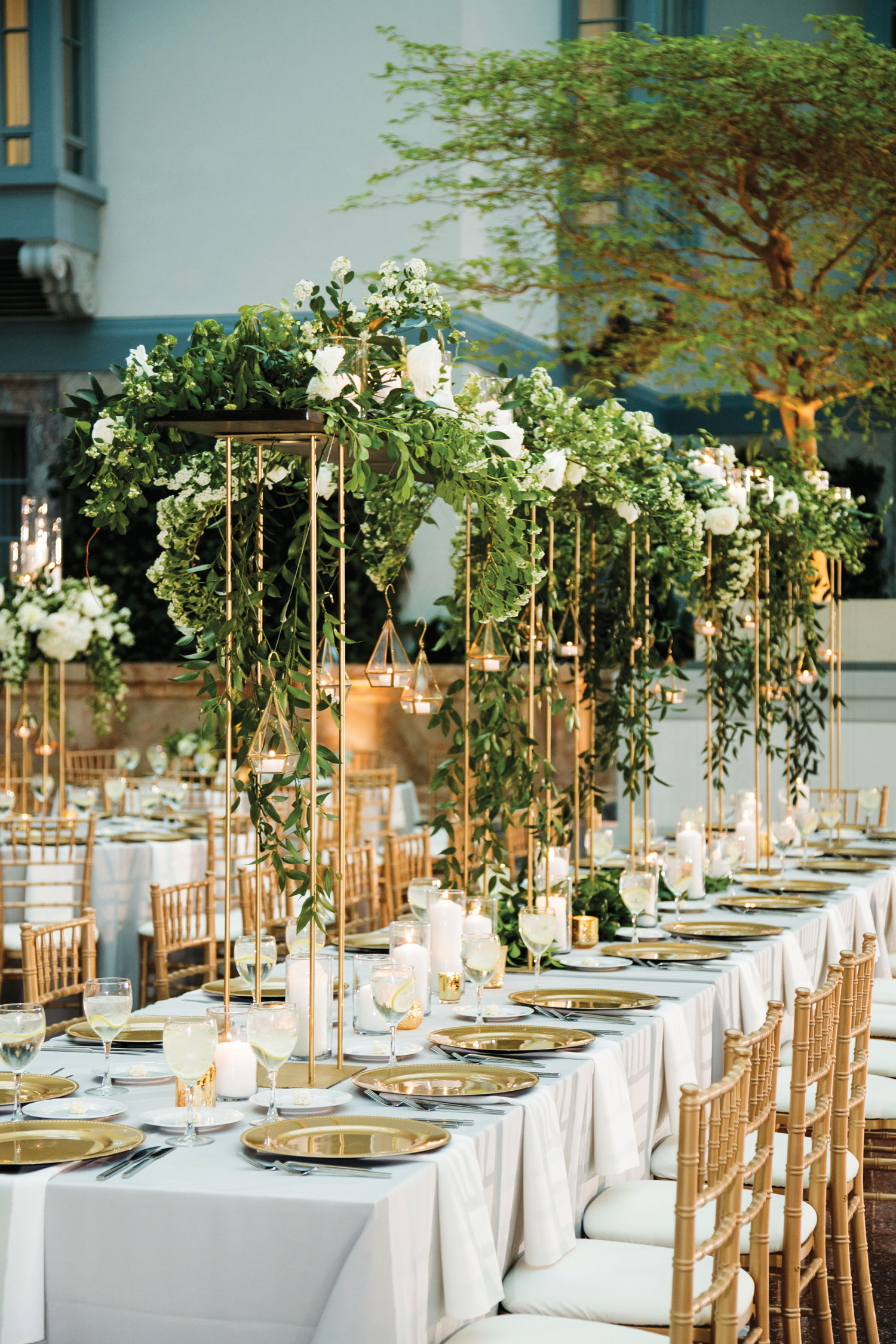 Inside Weddings magazine summer 2019 issue preview white gold greenery tall centerpiece