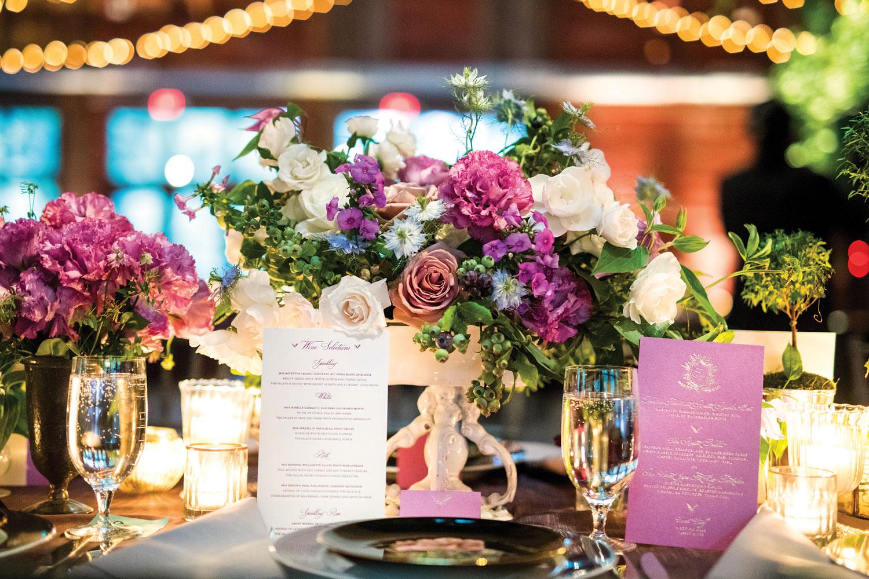 Inside Weddings magazine summer 2019 issue preview luxury wedding reception centerpiece in New York