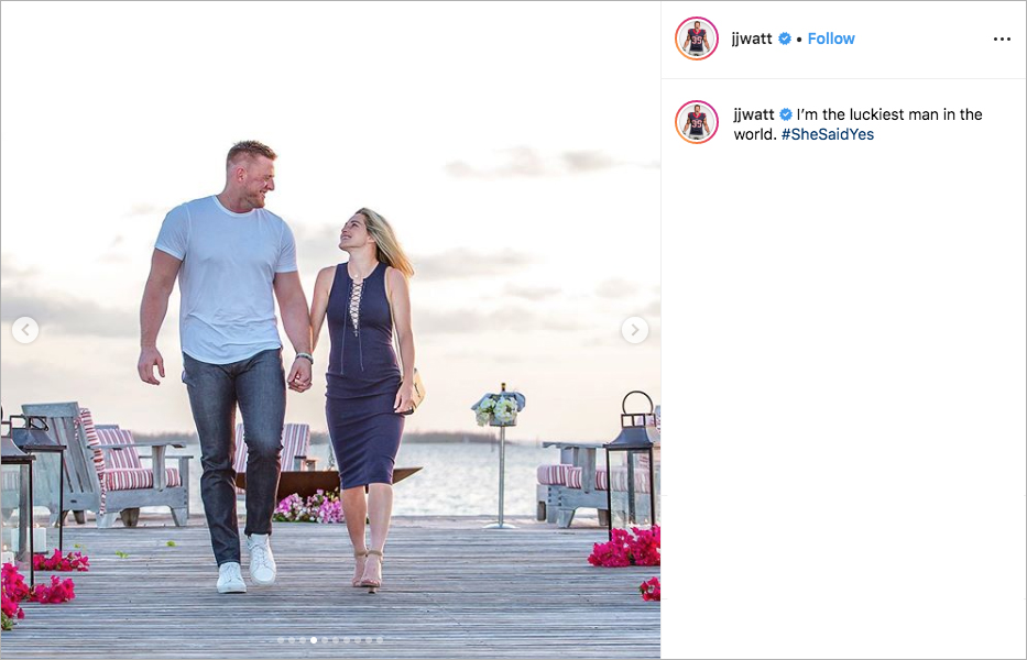 jj watt and kealani ohai engagement, jj watt proposal, jj watt's fiancée