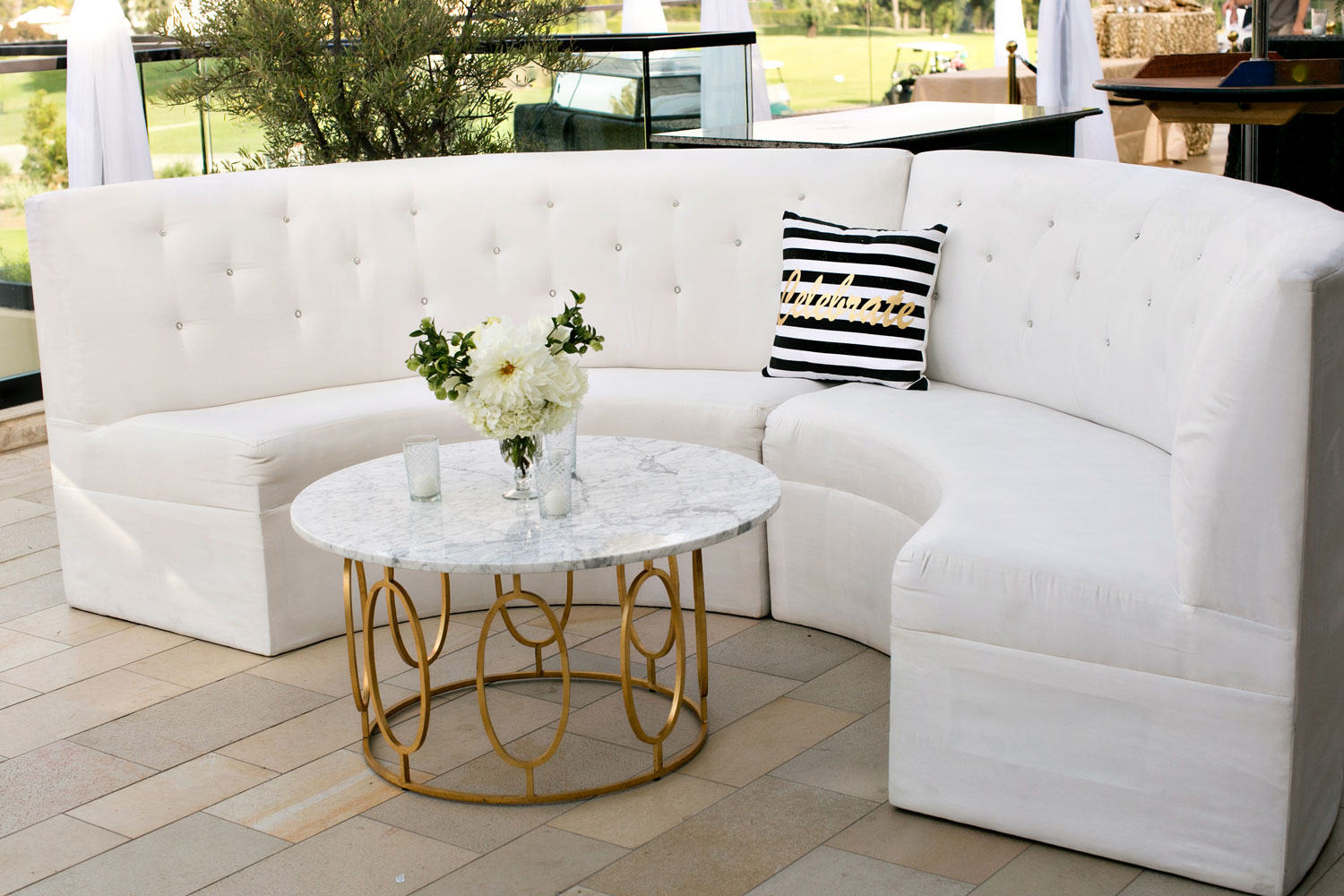 wedding reception and cocktail hour lounge area marble coffee table gold details wedding ideas