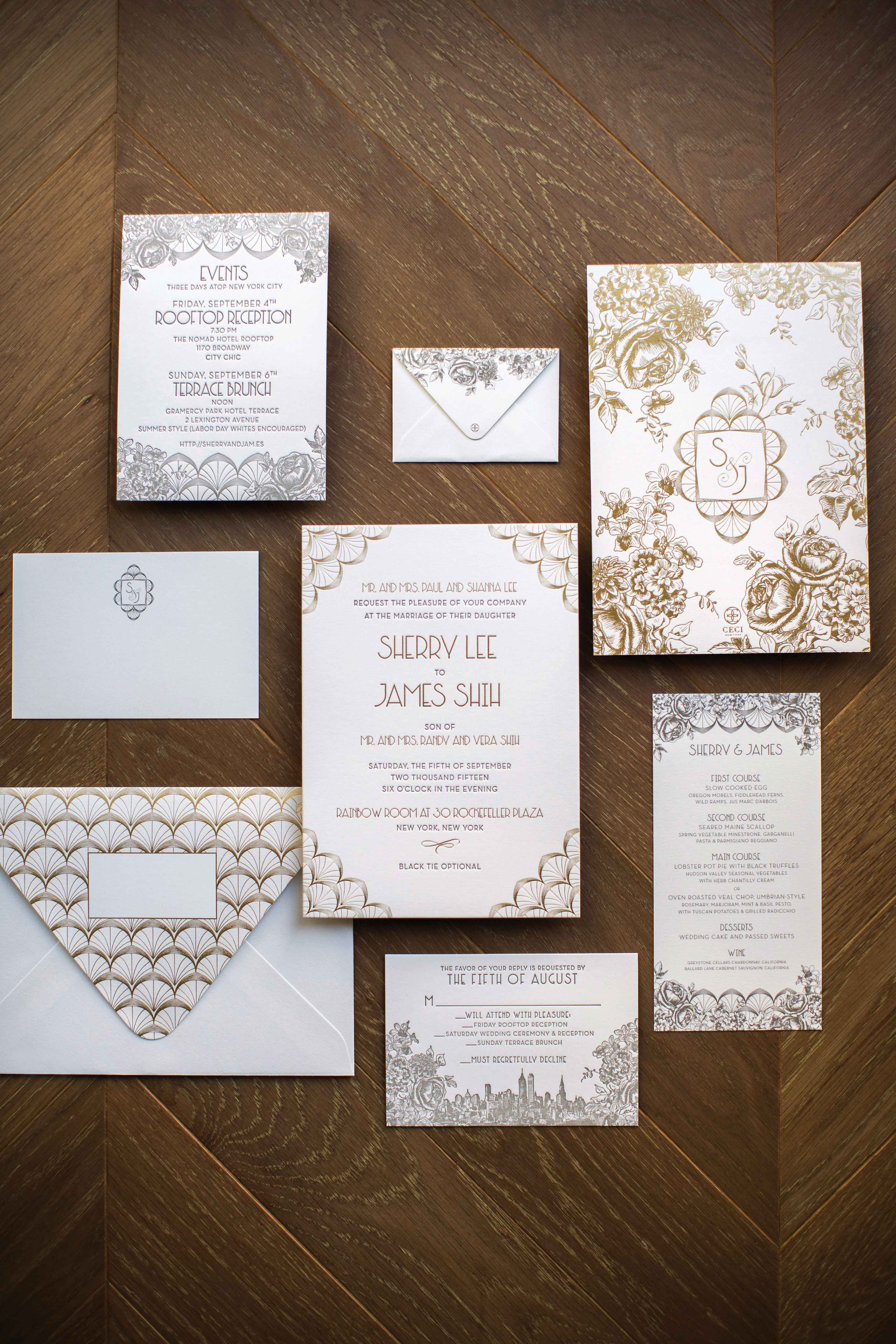 art deco style wedding invitation suite white and gold ceci new york gatsby wedding ideas