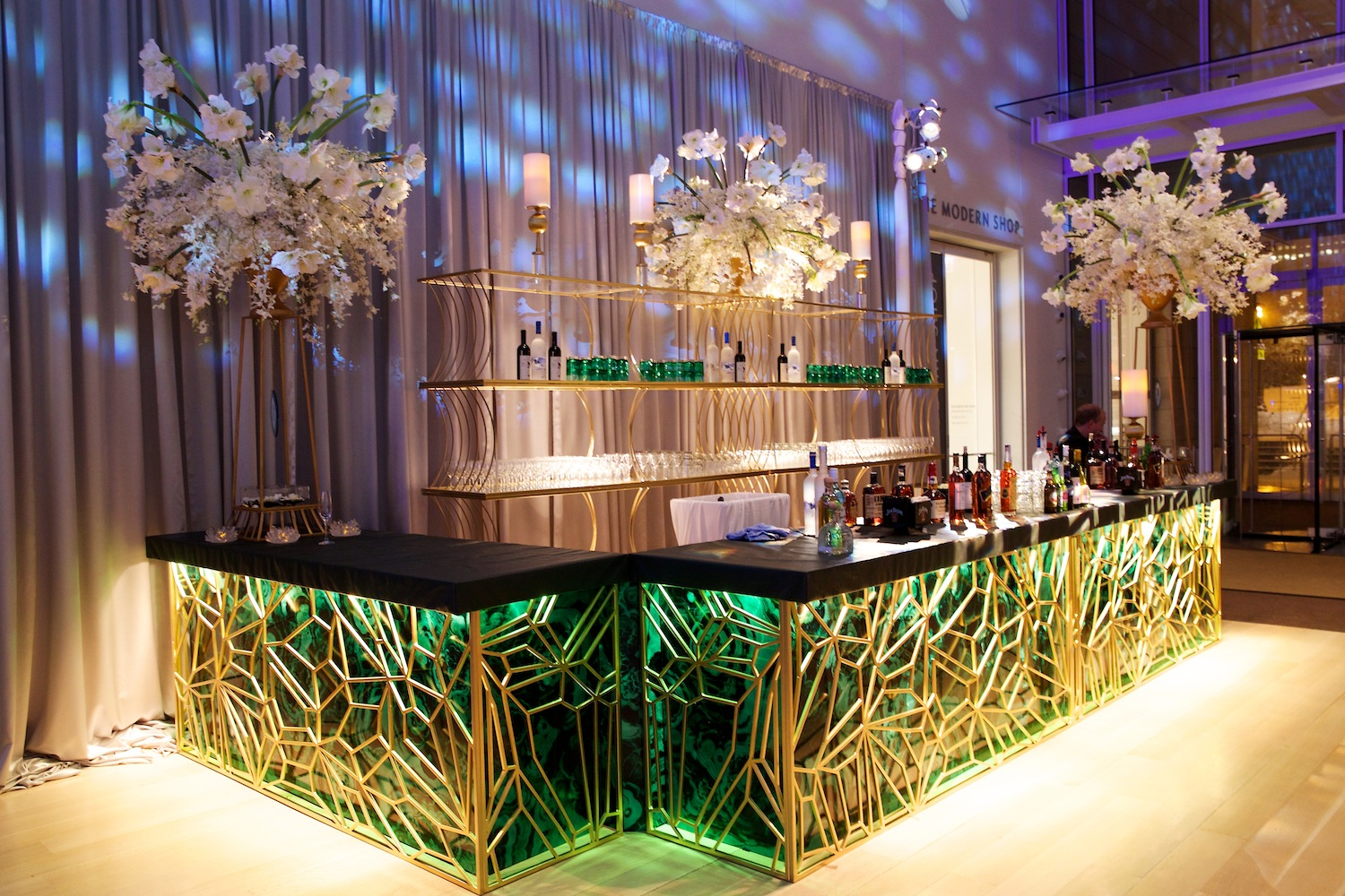 custom wedding event bar green and gold art deco geometric design gatsby wedding ideas