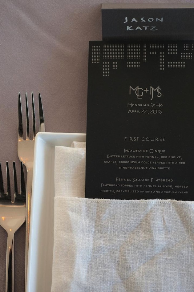 black and white wedding menu with art deco style font gatsby wedding ideas
