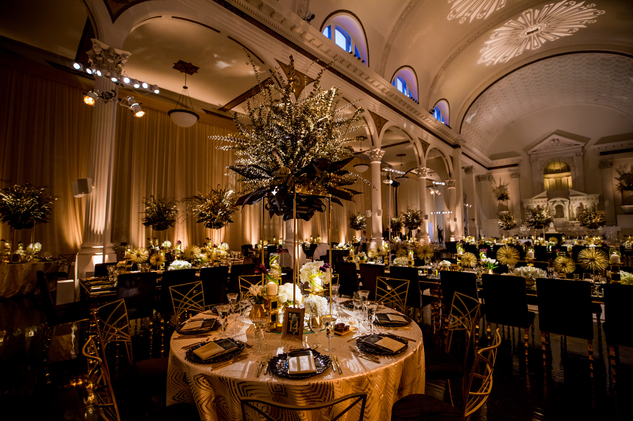 art deco inspired wedding reception black gold color palette sunburst designs gatsby wedding ideas