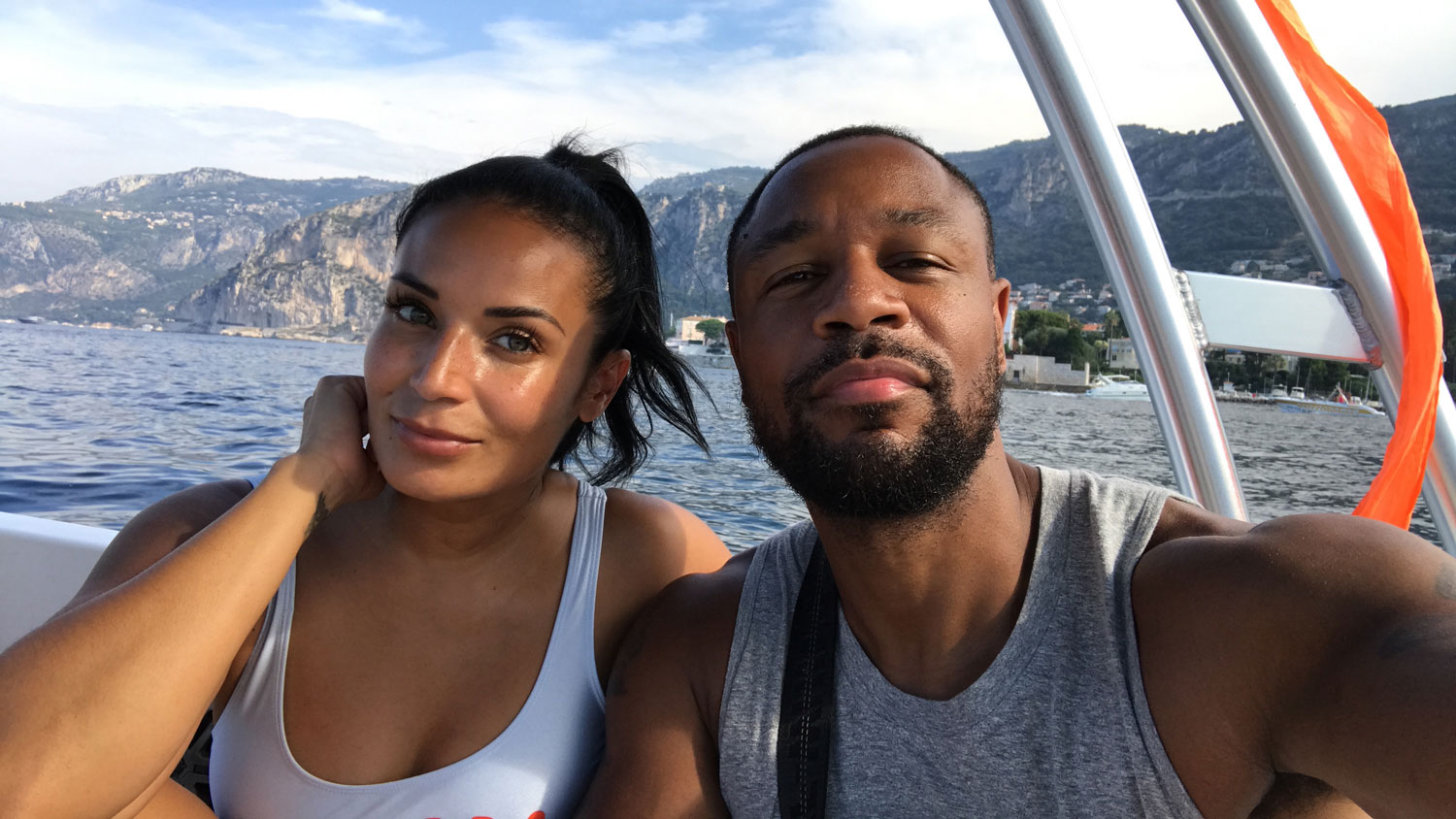 Zena Foster and Durrell Tank Babbs on excursion boat in the South of France