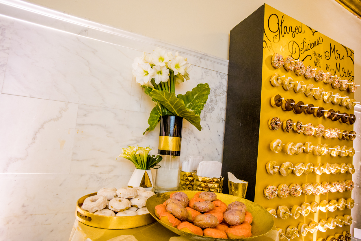 wedding reception donuts on donut wall doughnut marble wall vibiana wedding reception