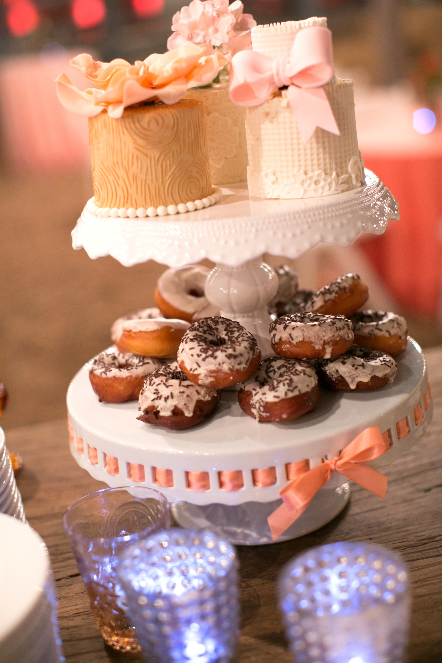 wedding reception cake tier dessert donut doughnut with sprinkles