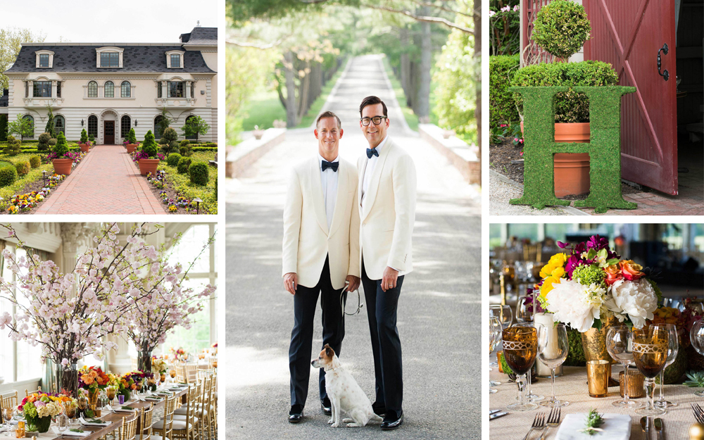 elegant gay wedding with cherry blossom and bright centerpieces at farm barn venue