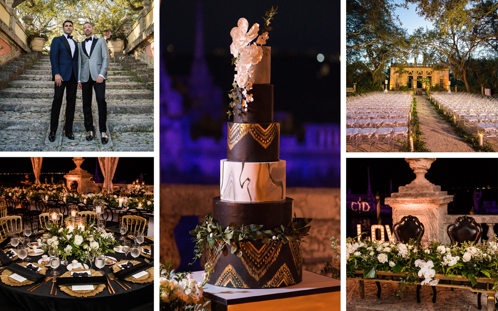 large miami gay wedding with black and gold decor color palette