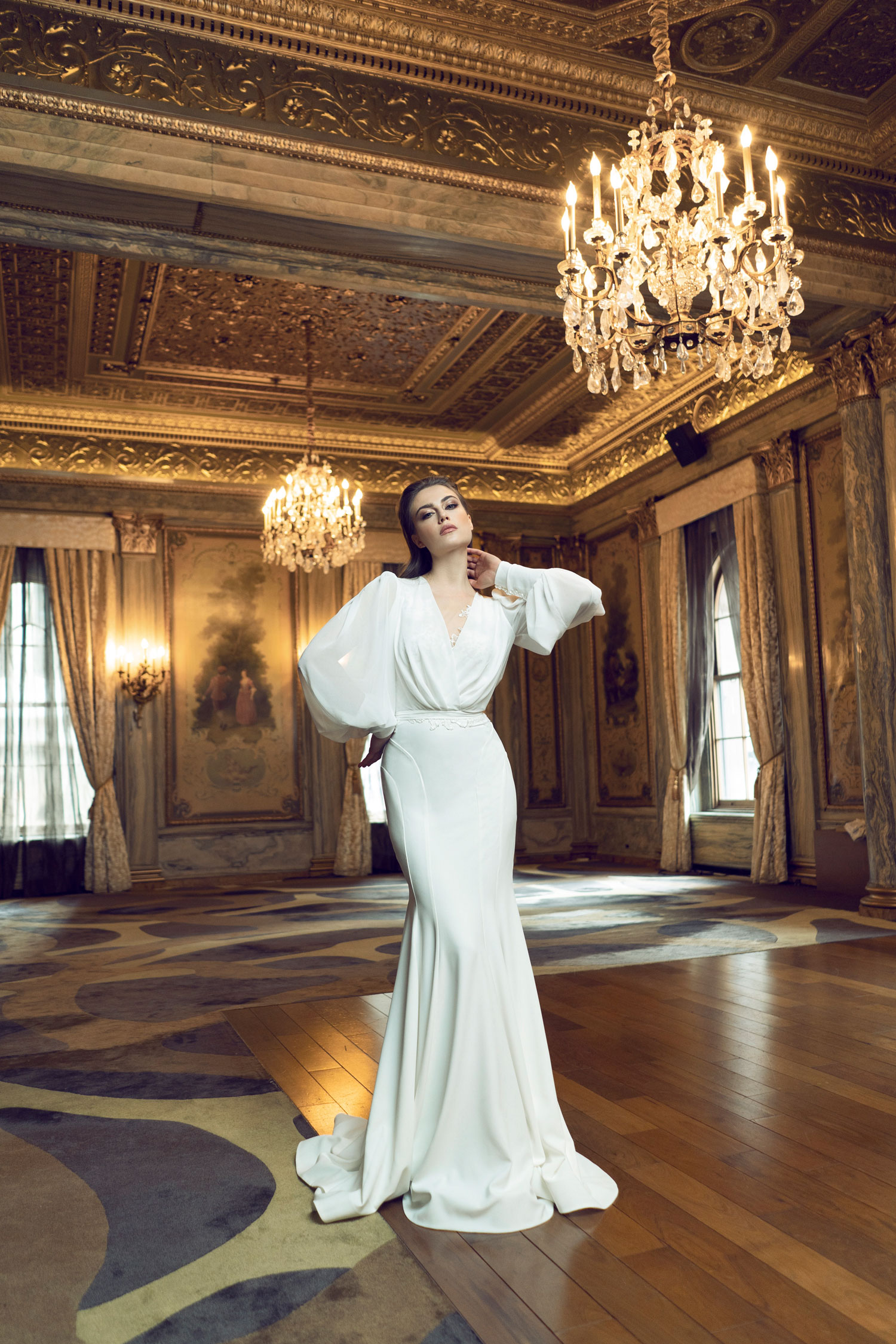 wedding dress with statement sleeves puffy long sleeves by Adam Zohar