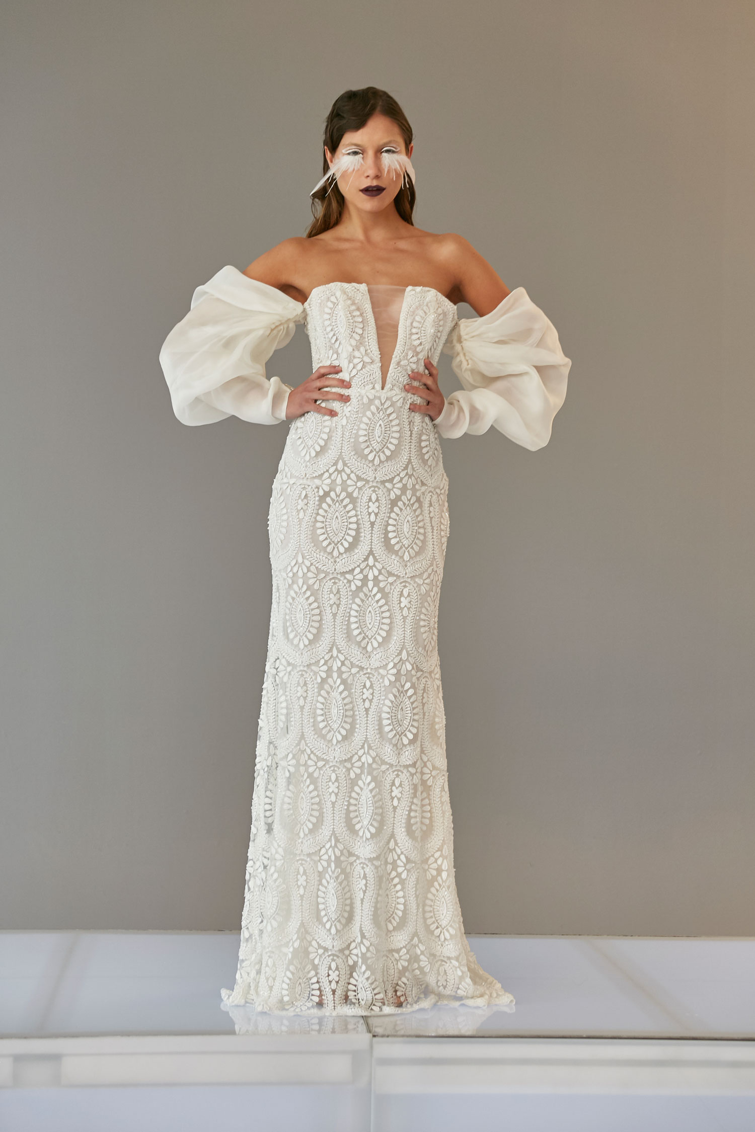 Lucy wedding dress with statement sleeves puffy sleeves off shoulder by Francesca Miranda