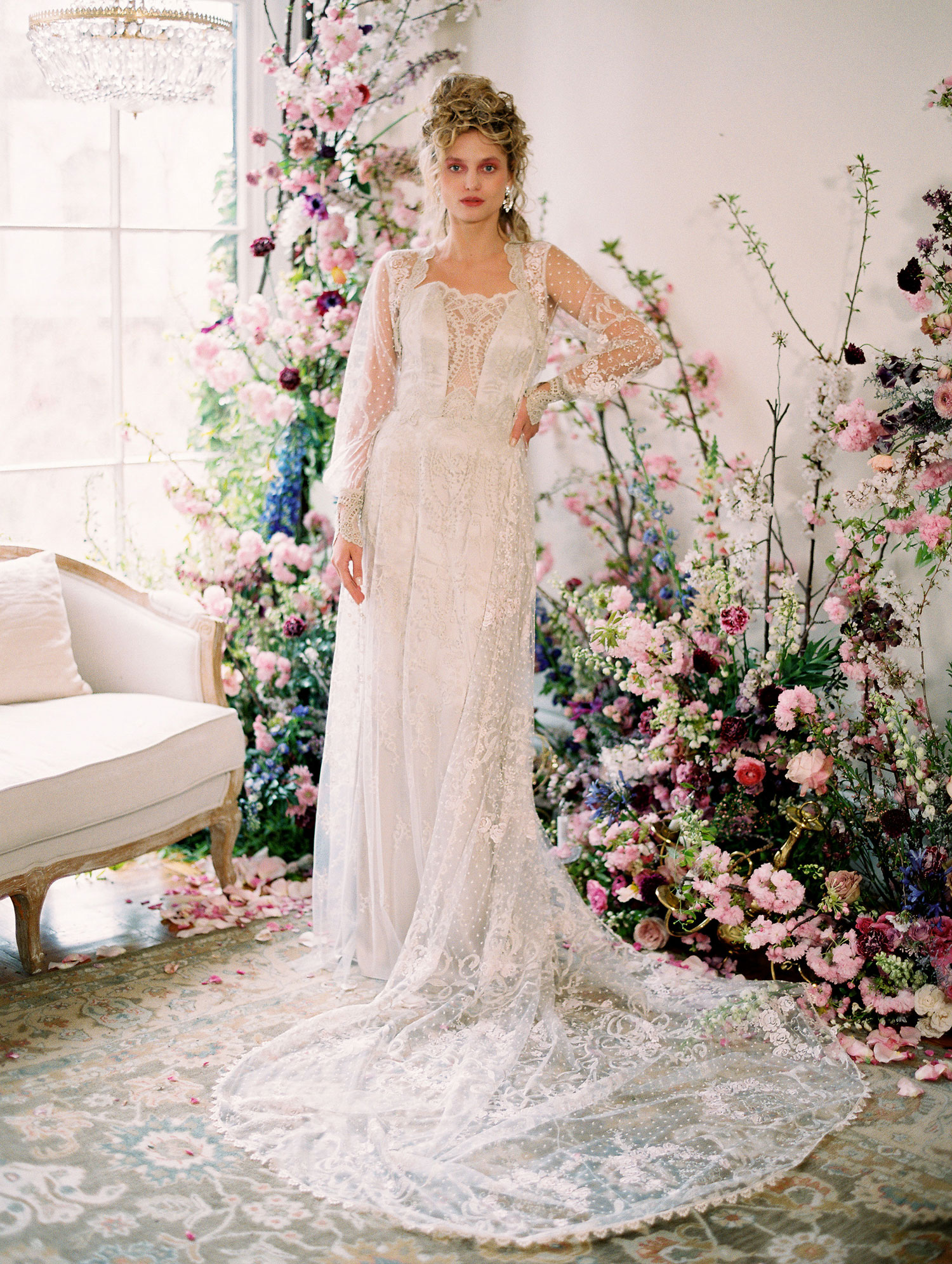 Cecily lace dress with Eva coat statement sleeves puffy wedding dress sleeves by claire pettibone