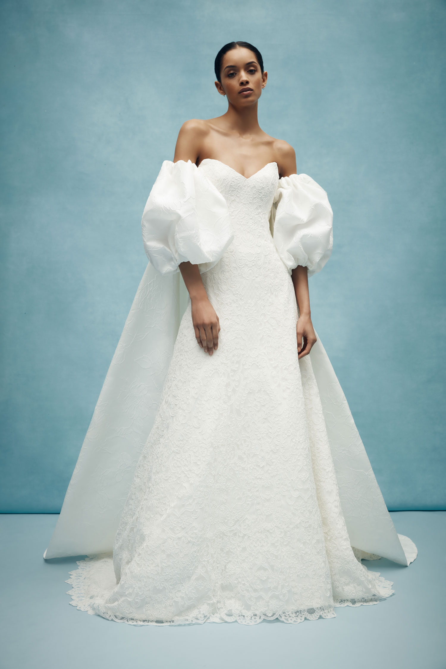 anne barge wedding dress with statement sleeves puffy sleeves off shoulder