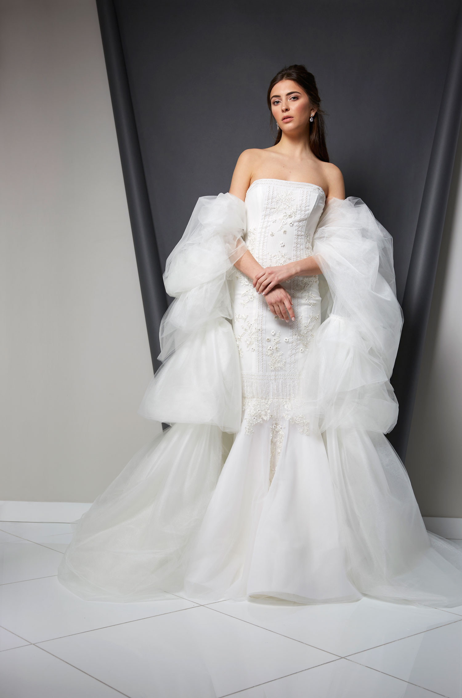 Randi Rahm wedding dress strapless with puffy statement sleeves