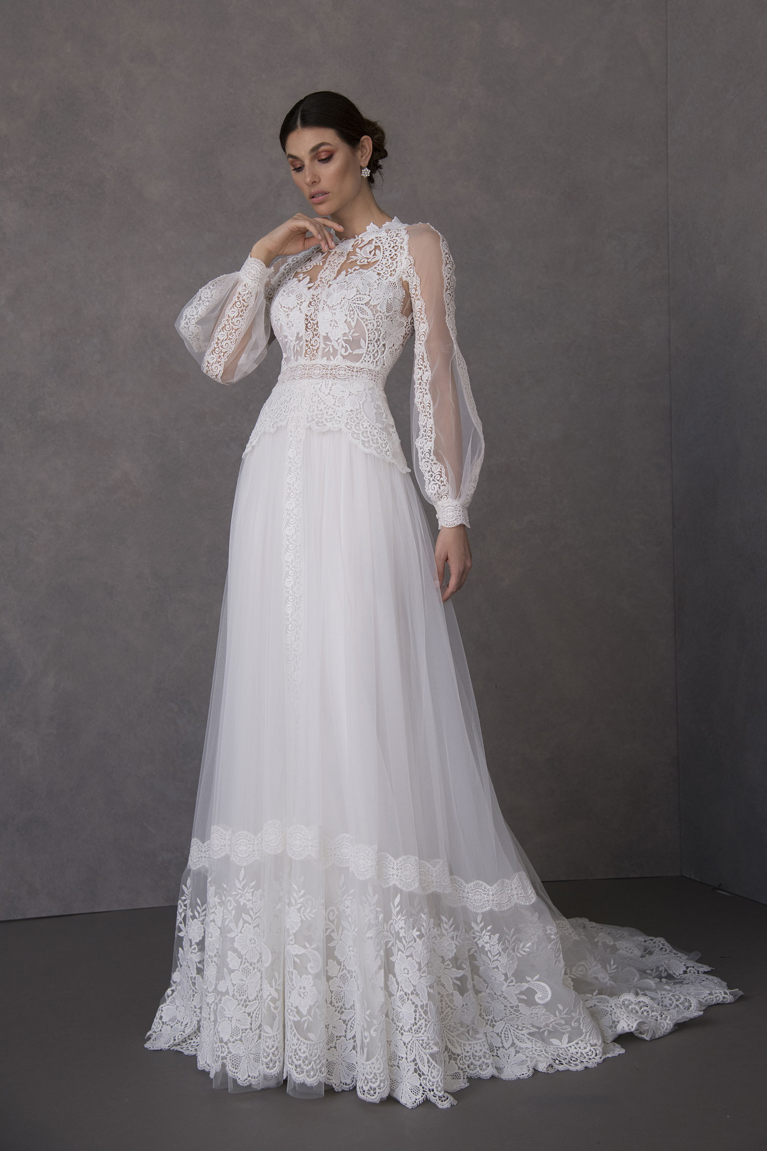 Valentini Spose high neck long sleeve wedding dress lace gown puffy sleeves statement sleeves