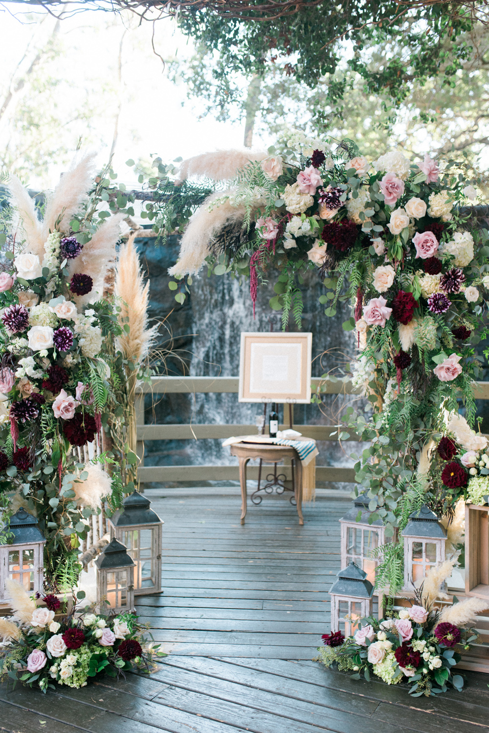 trendy wedding ceremony chuppah pampas grass fall color palette