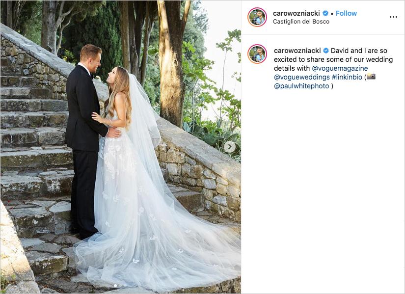 Caroline Wozniacki and David Lee wedding in tuscany, Caroline Wozniacki wedding dress oscar de la renta