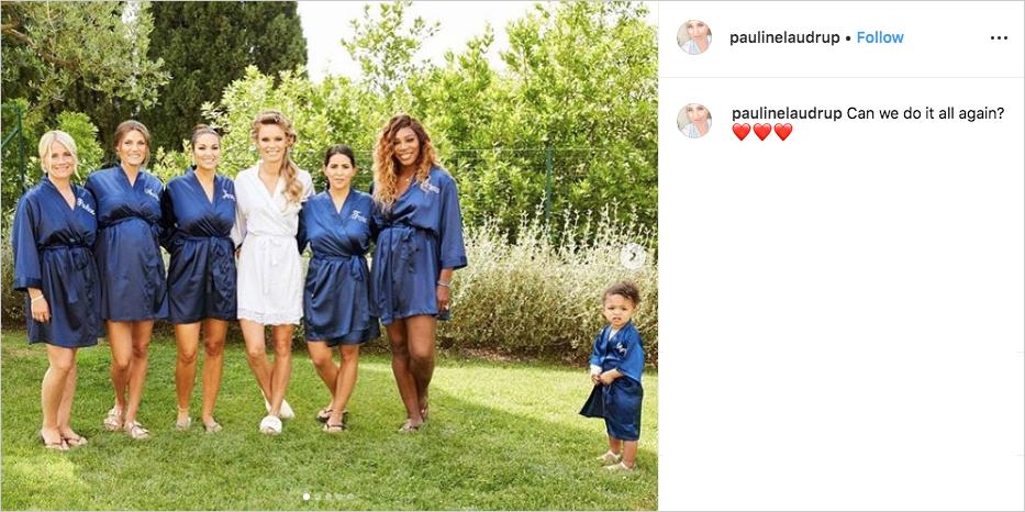 Caroline Wozniacki & David Lee wedding, Serena Williams as bridesmaid with Olympia Ohanian in robe