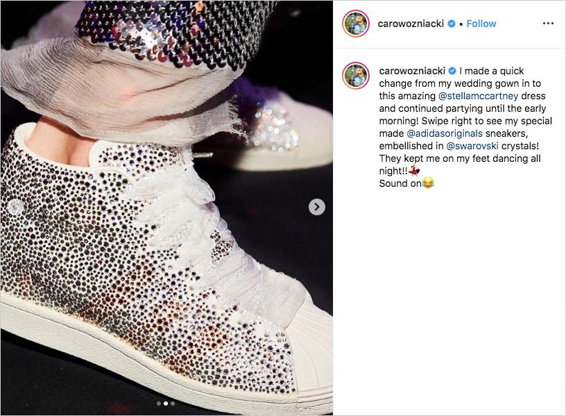 Caroline Wozniacki with custom adidas with swarovski crystals