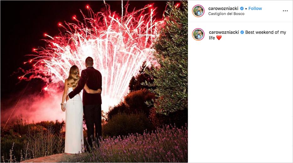 Caroline Wozniacki & David Lee wedding welcome party in tuscany with fireworks