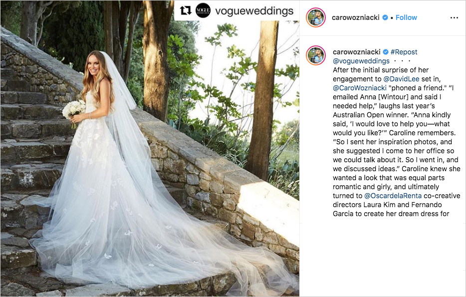 Caroline Wozniacki in Oscar de la Renta wedding dress with leaf embroidery