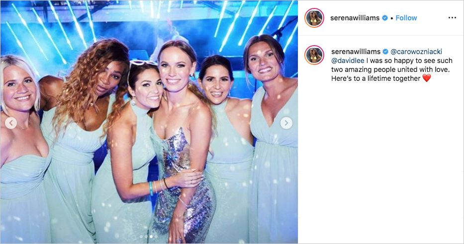 Caroline Wozniacki wedding with Serena Williams and bridesmaids