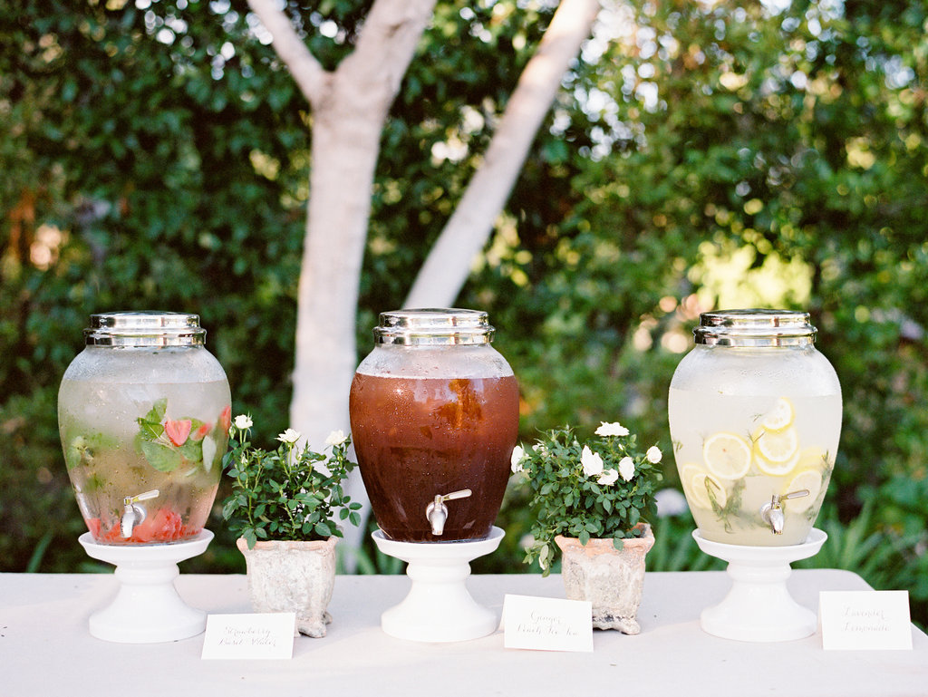 summer wedding ideas ice water iced tea lemonade hydration station beverages outdoor ceremony