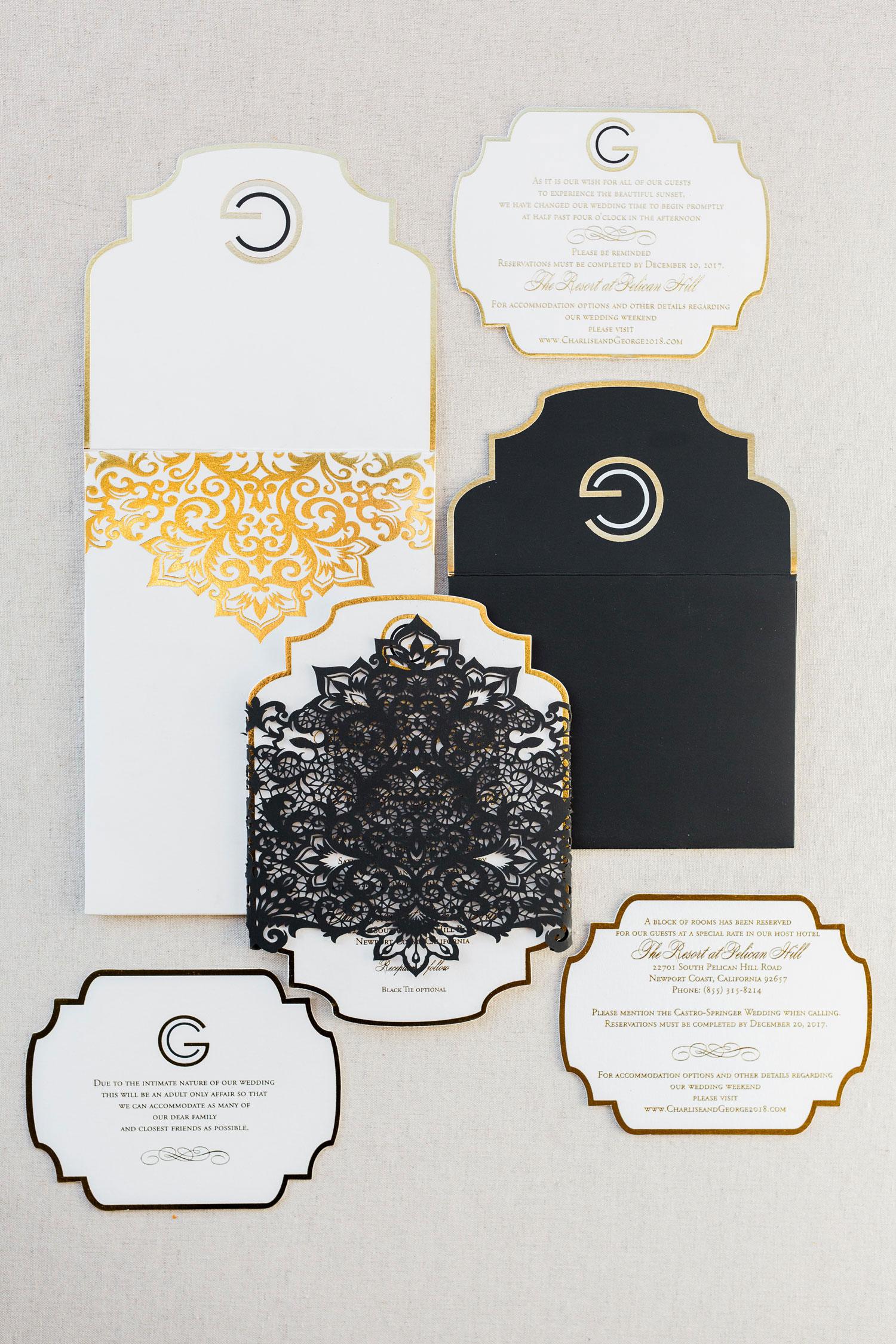 laser cut wedding ideas laser-cut wedding invitation design black gold george springer iii charlise castro wedding