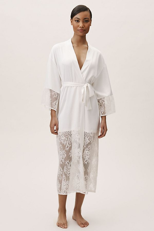 queen maxi white lace trim robe anthropologie bhldn getting ready robe 4th fourth of july sales for brides