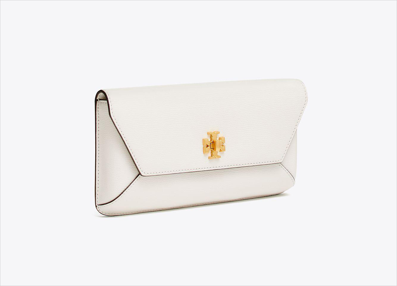 Tory Burch Kira envelope clutch white and gold wedding purse clutch ideas 4th fourth of july sales