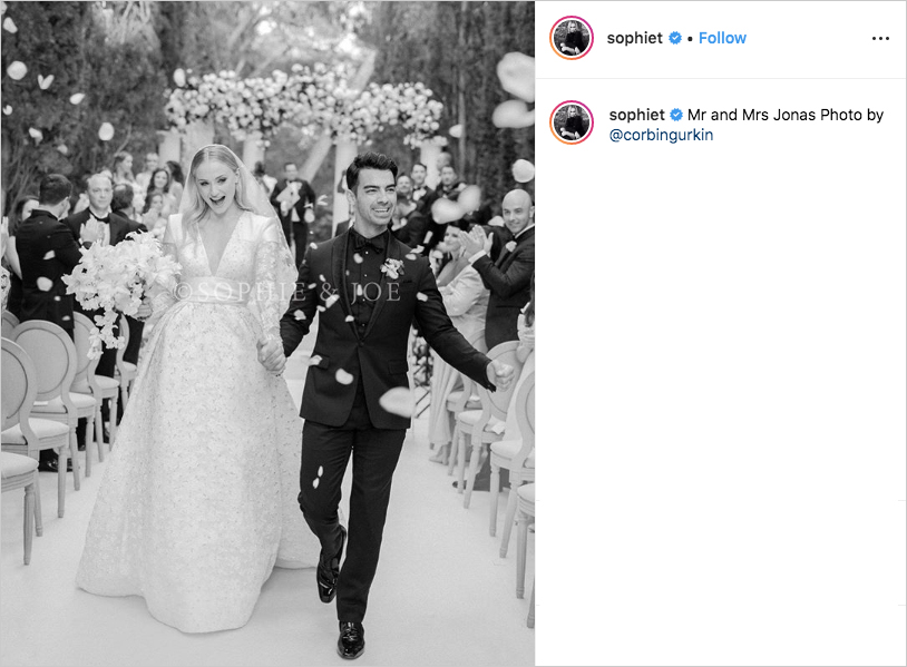 sophie turner and joe jonas black and white wedding photo in france